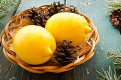 Natural Christmas decor of pine cones and lemons Royalty Free Stock Image