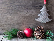 Natural Christmas decoration with apple Stock Image