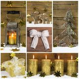 Natural christmas decoration with wood, snow and different golde Stock Photography