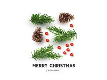 Merry Christmas Natural Design Layout stock illustration