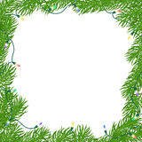 Natural Christmas square frame. Of bright green branches of fir, entangled luminous garland of colored light bulbs with snow and snowflakes. Isolated from the Royalty Free Stock Images