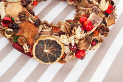 Natural christmas wreath. Royalty Free Stock Photos