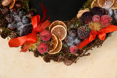 Natural Christmas wreath detail Stock Images