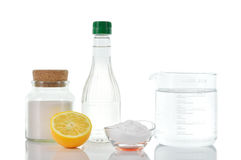 Natural cleaners. Vinegar baking soda salt lemon. stock photos