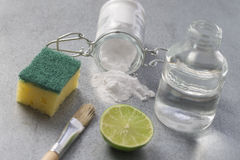Natural cleaning tools lemon and sodium bicarbonate. For house keeping Stock Photography