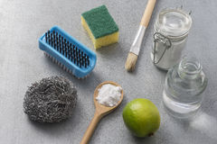 Natural cleaning tools lemon and sodium bicarbonate. For house keeping Stock Photos