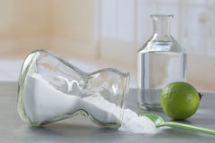 Natural cleaning tools lemon and sodium bicarbonate. For house keeping Royalty Free Stock Photo