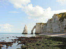 Natural cliffs on beach during low tide. Natural cliffs on english channel beach during low tide of Etretat cote d'albatre, France Royalty Free Stock Image