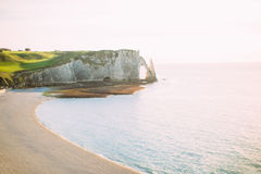 Natural Cliffs in Etretat. Royalty Free Stock Image