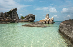 Natural coast rock formation in sea at Belitung Island, Indonesia. Natural coast rock formation in sea at Belitung Island in the afternoon, Indonesia Stock Image