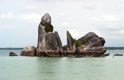 Natural coast rock formation in sea at Belitung Island, Indonesia. Royalty Free Stock Photo