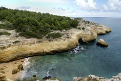 Natural coastline of Algarve Royalty Free Stock Image