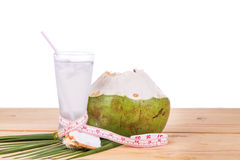Natural coconut juice helps in body weight loss Royalty Free Stock Image