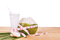 Natural coconut juice helps in body weight loss Royalty Free Stock Images