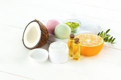 Natural coconut oil. And spa concept on wooden table Royalty Free Stock Image