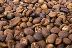 Natural coffe. Grains of natural black coffe Stock Images