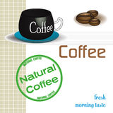 Natural coffee. Abstract colorful background with coffee cup, coffee beans and a green stamp with the text natural coffee Stock Illustration