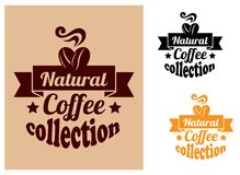 Natural coffee banners set. For coffee shops or cafe design Stock Image