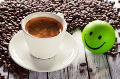 Natural coffee and smiley Royalty Free Stock Photo