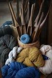 Natural color dye of cotton thread : Closeup. Natural color dye of cotton thread : Close up Stock Photography