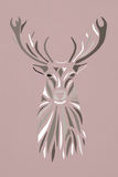 Natural color silhouette face of deer on pink background. Stencil Royalty Free Stock Photography