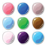 Natural colored buttons with glass surface effect. Blank  buttons set for web design or game graphic. Royalty Free Stock Photo