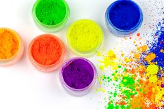 Natural colored pigment powder. stock photo