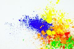 Natural colored pigment powder. Many colorful natural pigment powder. Cosmetics product  on white background stock illustration