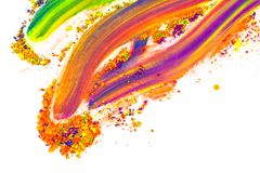 Natural colored pigment powder. Place for text. Multi-colored natural pigment powder smeared on a sheet of white paper. Place for text vector illustration