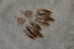 Natural colors feathers earrings Royalty Free Stock Photos