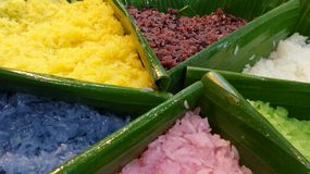 Natural colour from flower and leaves in sticky rice Stock Images