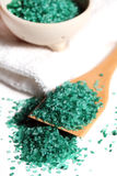 Natural coloured bath salt scattered Stock Image