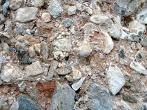 Natural conglomerate rock. Conglomerate rock used as building stone Stock Photo