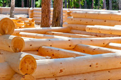 Natural  construction of timber houses Stock Photo