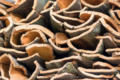 Natural cork bark stacked Royalty Free Stock Photography