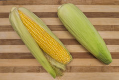 Natural corn on the cob Stock Photo