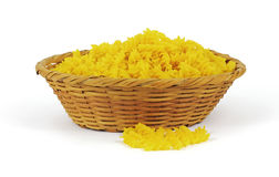 Natural Corn Pasta Twists. A nice view of natural corn pasta twists in a basket Royalty Free Stock Photography