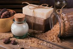 Natural cosmetic oil, sea salt and natural handmade soap with co royalty free stock image