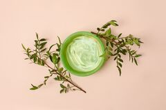 Free Natural Cosmetic For Skin Care. Fresh Aloe Vera Gel In Jar Flat Lay On Beige Background. Top View, Minimal, Alternative Medicine Stock Photo - 216766870