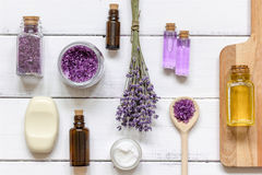Natural cosmetic with lavender top view stock photo