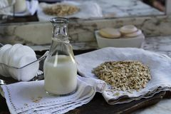 Natural cosmetic from oats Stock Photos