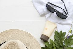 Natural cosmetic for skin face sunscreen spf50 of woman. With accessories for lifestyle woman relax summer Stock Photos