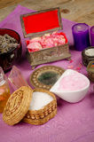 Natural cosmetics. Assortment of natural cosmetics with some of their ingredients stock images