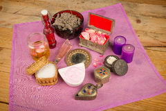 Natural cosmetics. Assortment of natural cosmetics with some of their ingredients Royalty Free Stock Photography