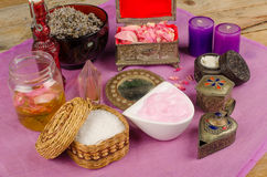Natural cosmetics. Assortment of natural cosmetics with some of their ingredients royalty free stock photo