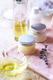 Natural Cosmetics on a Bath Towel Stock Photo