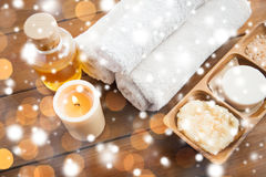 Natural cosmetics and bath towels Stock Images
