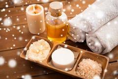 Natural cosmetics and bath towels Royalty Free Stock Image