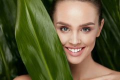 Natural Cosmetics. Beautiful Woman Face With Green Plant. Natural Cosmetics. Beautiful Woman Face With Healthy Skin And Green Plant On Jungle Background. High stock images