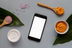 Organic cosmetics concept, top view royalty free stock photos